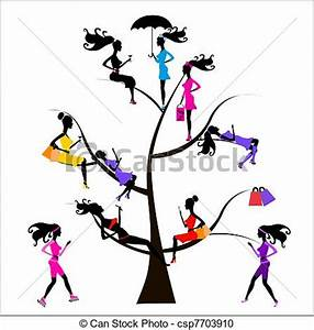 Vector Clipart of Sociology Tree different girls ...
