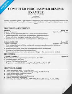 resume writers description computer programmer description resume recentresumes
