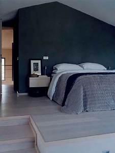 Chambre Gris Et Bleu : peinture bleu marine et gris dans chambre adulte ~ Melissatoandfro.com Idées de Décoration