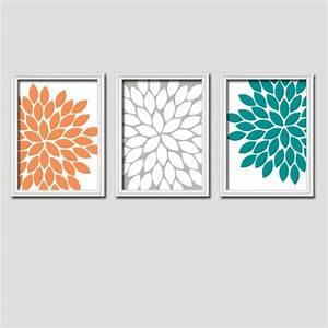 Orange teal gray bedroom canvas or prints bathroom artwork