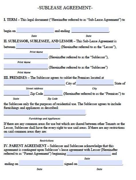 arkansas sublease agreement form  template