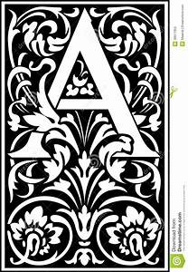 Flowers decorative letter a balck and white stock photos for White decorative letters