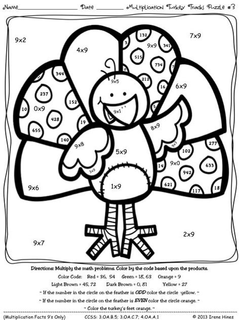 coloring pages multiplication turkey tracks and feather facts math printables color