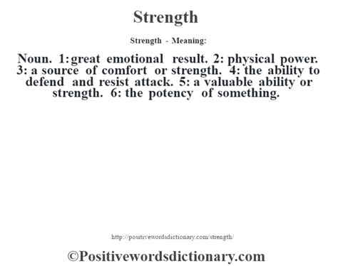 Strength definition | Strength meaning - Positive Words