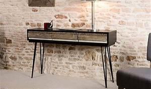 Console Metal Et Bois : petits meubles de chambre console vintage en bois massif et metal marin ~ Teatrodelosmanantiales.com Idées de Décoration