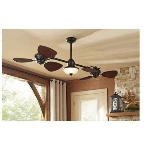 double head ceiling fan with light 74 quot indoor outdoor ceiling fan dual fan heads light kit