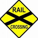 Svg Railroad Crossing Clipart Caution Cartoon Views