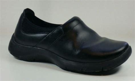 womens dansko black leather support work clog eu
