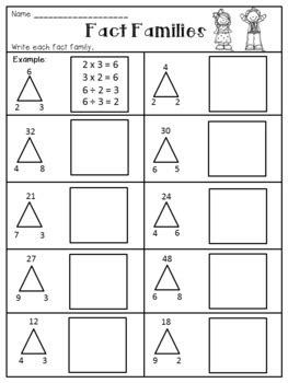 multiplication and division fact families worksheets by