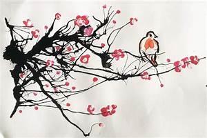 Dessin Fleur De Cerisier Japonais Noir Et Blanc : perch ur une branche de cerisier japonais le blog ~ Melissatoandfro.com Idées de Décoration