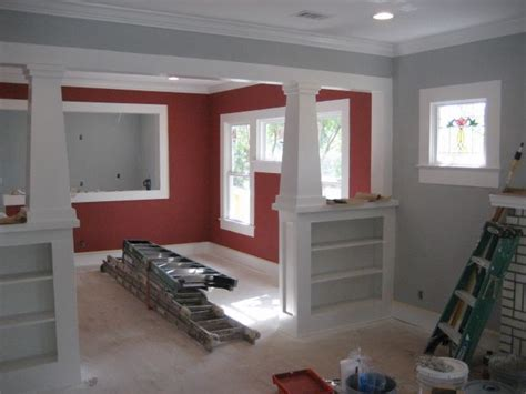 Hardwood Floors, Grey Walls, Red Walls  Living Room