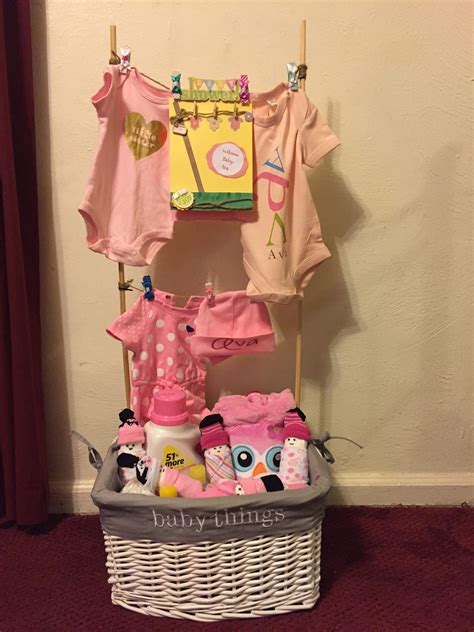 Baby Shower Gifts - baby clothesline laundry basket i made cakes in