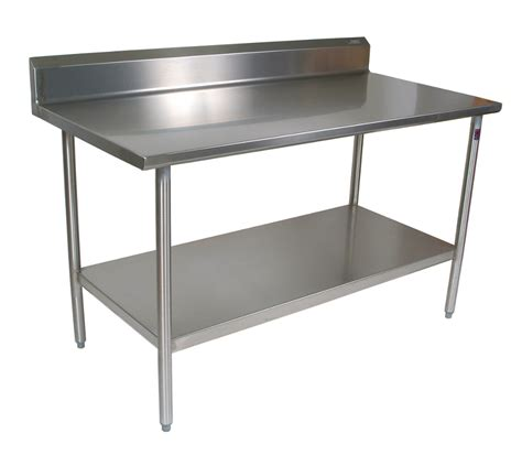 Kitchen Island With Chopping Block Top - 14 gauge stainless steel foodservice work table