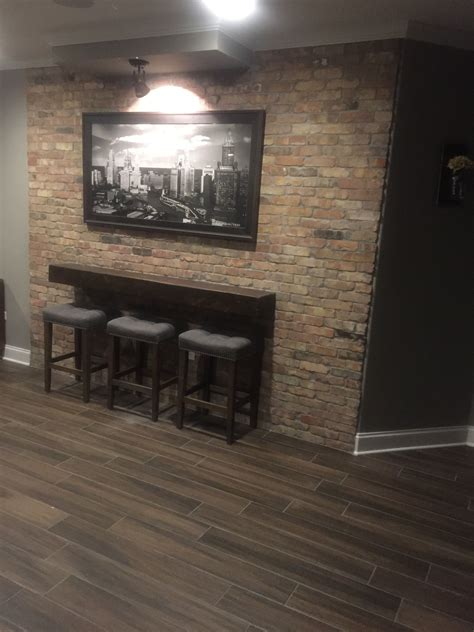 drink rail finishing basement fireplace decor