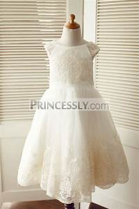 Cap Sleeves Champagne Lace Ivory Tulle Wedding Flower Girl Dress Avivaly
