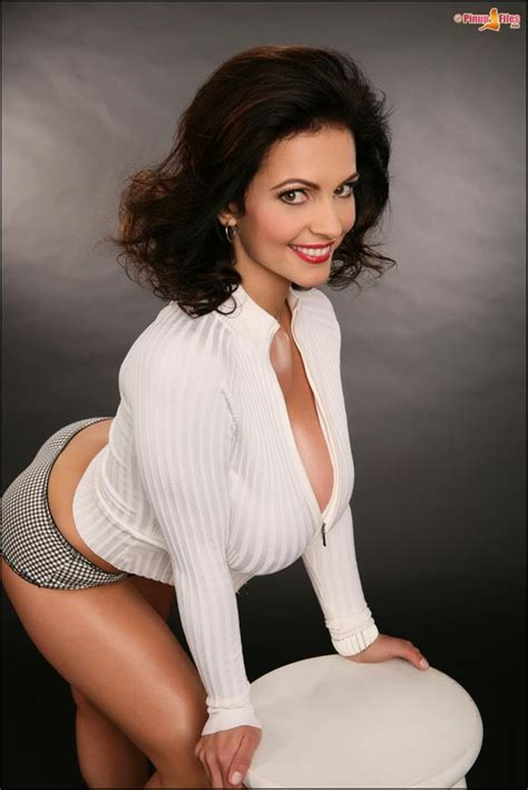 Denise Milani In A White Zipper Jacket The Boobs Blog