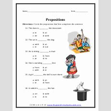 Frequently Used Preposition Worksheets