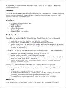 resume for personnel professional personnel specialist templates to showcase your talent myperfectresume