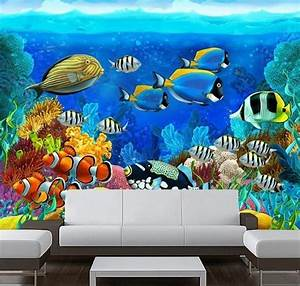 Aquarium Corals Fish Underwater 3D Full Wall Mural Photo ...
