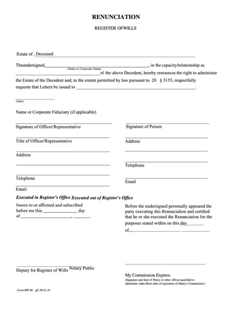fillable form rw  renunciation register  wills