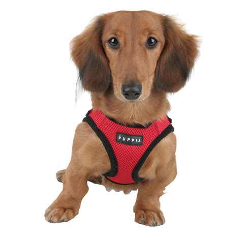 puppia soft mesh harness  dogs red