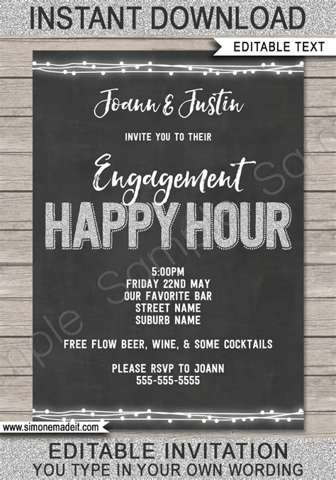 happy hour invite template printable happy hour invitation