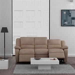Canape C Discount : relax canap 3 places relaxation tissu beige achat vente canap sofa divan bois m tal ~ Teatrodelosmanantiales.com Idées de Décoration