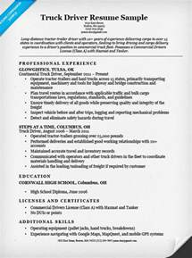 Truck Driver Resume Database by Truck Driver Resume Sle Resume Companion