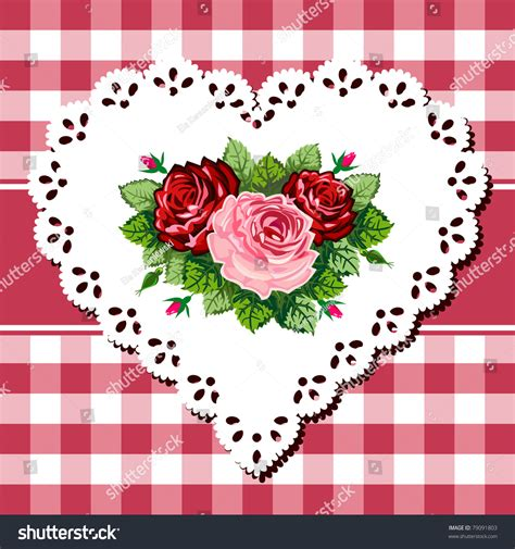 vintage rose bouquet illustration  lace stock vector