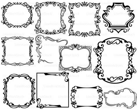 Interesting online photo frames in a golden design with decorative pattern and. Frame svg/scroll clipart/frame svg/swirl silhouette/frame