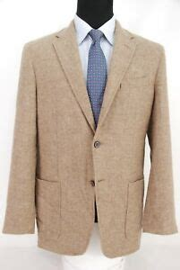 zanella italy btn tan tweed sport coat patch pockets