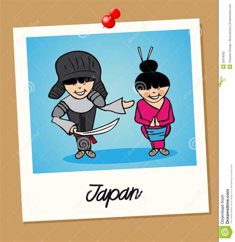 japan travel polaroid people stock vector image