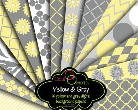 Yellow And Gray Digital Paper Gray And Yellow Party Paper