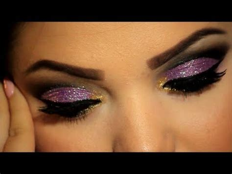 glitter cut crease makeup tutorial youtube