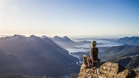 Landscape Nature Women Rock Climbing Lake Mountain
