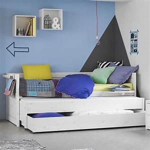 Lit Ikea Avec Tiroir : lit gigogne avec tiroir de rangement blanc de chaux noahcham01g ~ Mglfilm.com Idées de Décoration