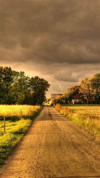 Autumn Field Landscape Road Wallpapers Iphone Samsung