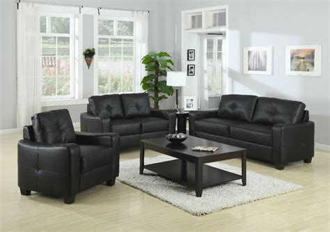 Black Sofa And Loveseat Set by Contemporary Plush Black Leather Sofa Seat Chair