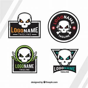 Flat pack of skull logos with color details Vector | Free ...