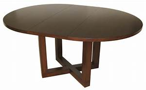 Tangent dining table - pedestal style, optional leaf