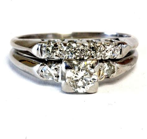 platinum 52ct diamond engagement ring wedding band 5 9g vintage ebay
