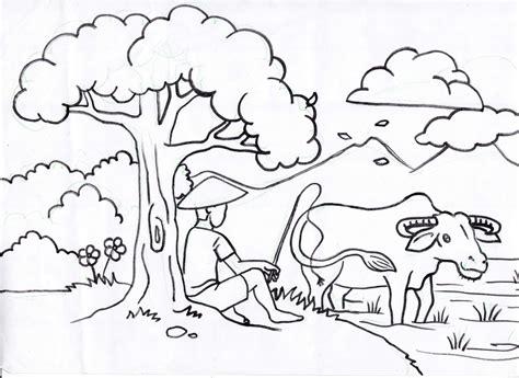 karikaturku indonesia mewarnai pemandangan alam