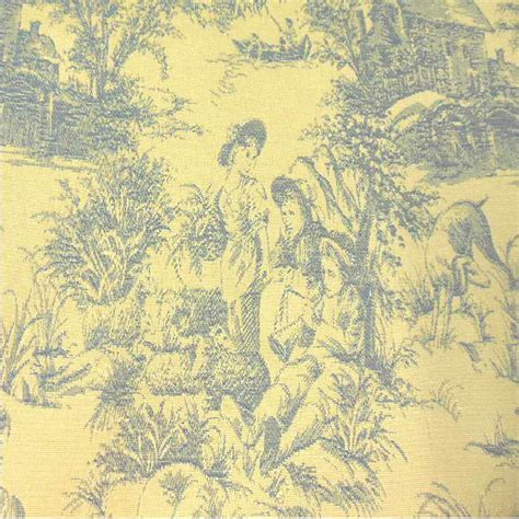 Toile Drapery Fabric - drapery upholstery fabric blue toile on yellow background