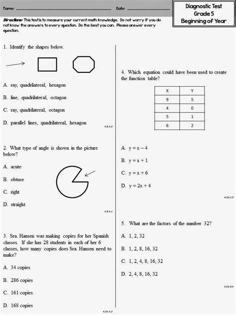 Diagnostic Math Diagnostic Test