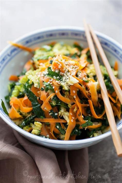 March 10, 2015 appetizers, recipes, snacks. Kale, Cabbage and Carrot Chopped Salad with Maple Sesame Vinaigrette | Recipe | Healthy recipes ...