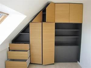 Meuble sous pente ou sous escalier sur mesure for Meuble sous pente