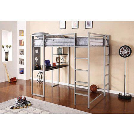 metal bunk bed with desk abode metal loft bed workstation desk