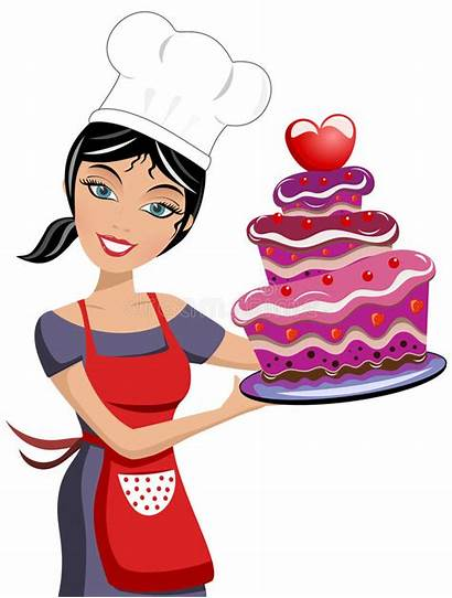 Chef Cake Woman Valentine Chocolate Illustration Clipart