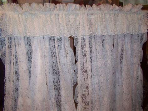 6 lot vintage lace priscilla ruffled curtain panels gauze
