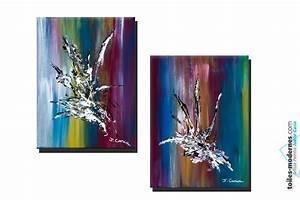Tableau Moderne Coloré : tableaux d coratifs color s diptyque moderne enchantement deux cadres verticaux pour int rieurs ~ Teatrodelosmanantiales.com Idées de Décoration